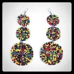 Jewelry - Maasai Beaded Multi Color Disc Earrings